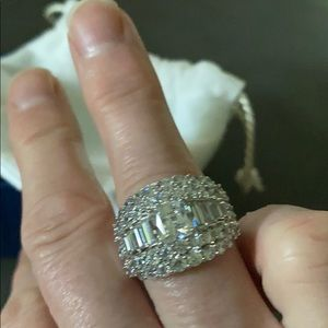 Platinum over sterling, simulated diamond ring.